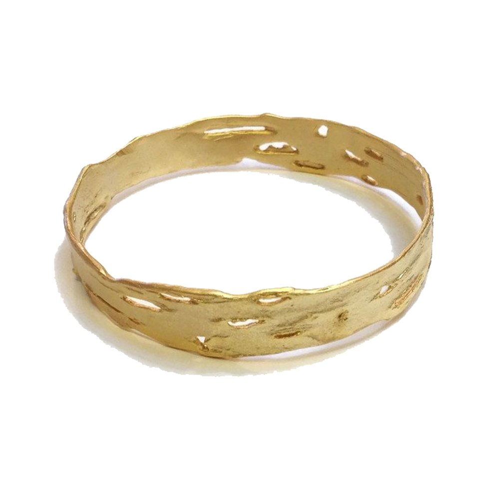 ''Birch Bark'' 24K Gold Plated Bronze Bangle by Michael Michaud for Silver Seasons…