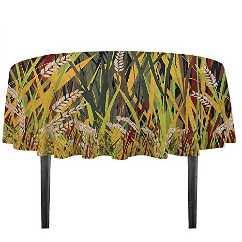 kangkaishi Nature Washable Tablecloth Reeds Dried Leaves Wheat River Wild Plant Forest Farm Country Life Art Print Image Desktop Protection pad D51.18 Inch Multicolor ()