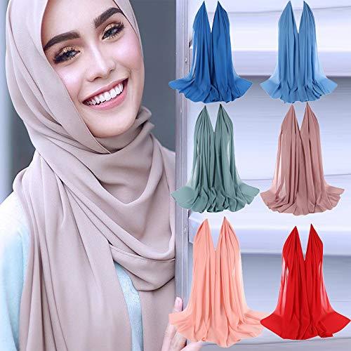ODJOY cuffia integrale cotone donne delle spiegazzato cappuccio sciarpa musulmano turbante chiffon con a sciarpa tappo perla cappello FAN 3 hijab peloso islamico turbante cappuccio cappello raPqxrg