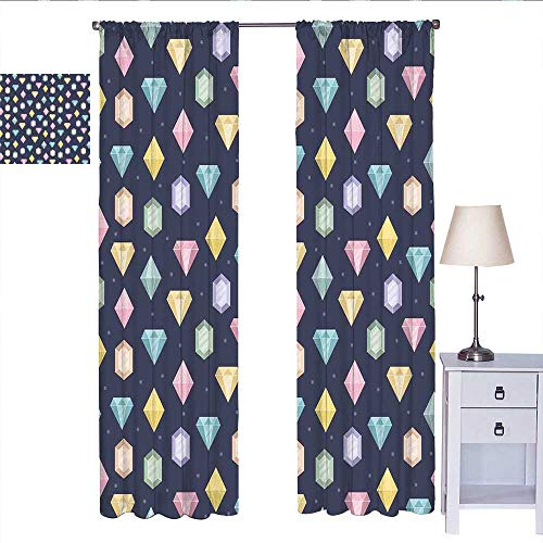 W Machine Sky Colorful Kids Curtain Graphic Gemstones with Different Shapes Trillion Drop and Marquise Cut Pattern Short Curtain Multicolor W72 x L96