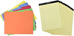 AmazonBasics AMZ401 File Folders - Letter Size (100 Pack) – Assorted Colors & Legal/Wide Ruled 8-1/2 by 11-3/4 Legal Pad - Canary (50 Sheet Paper Pads, 12 Pack)