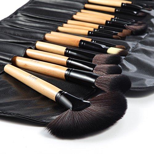 DRQ Makeup Brush Set,32 Pieces Professional Wooden Handle Makeup Brushes Essential Cosmetics With Case (Set Makeup Beauty 32 Piece)