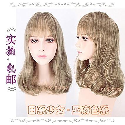 WIAGHUAS Mujeres Moda Largo Micro-Volumen Qi Liu Daily Castaño Japonés Chica Lino Marrón Peluca