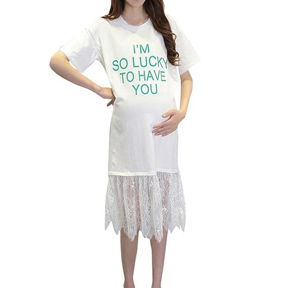 ALIKEEY La Mujer Es El Embarazo Carta Vestido Estampado Manga Corta Vestido De Ropa De Maternidad