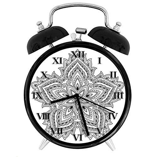 - BCWAYGOD Pretty Black and White Paisley Petal Lotus Mandala Flower Alarm Clock,Alarm Clock for Kids,Desk Clock 4in