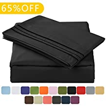 """Balichun Luxurious Bed Sheet Set-Highest Quality Hypoallergenic Microfiber 1800 Bedding Super Soft 4-Piece Sheets with 14"""" Deep Pocket Fitted Sheet Twin/Full/Queen/King/Cal King Size (Queen, Black)"""