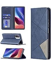 ESONG Hoesje voor Xiaomi Poco F3,Magnetic PU Leather Wallet Case leren hoes met kaartenvak met standaard functie Cover-blauw