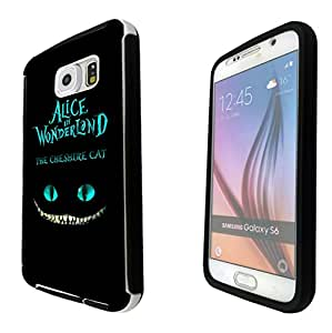 725 - Alice in Wonderland The Cheshire Cat Design Samsung Galaxy S6 i9700 Full Body CASE With Build in Screen Protector Rubber Defender Shockproof Heavy Duty Builders Protective Cover