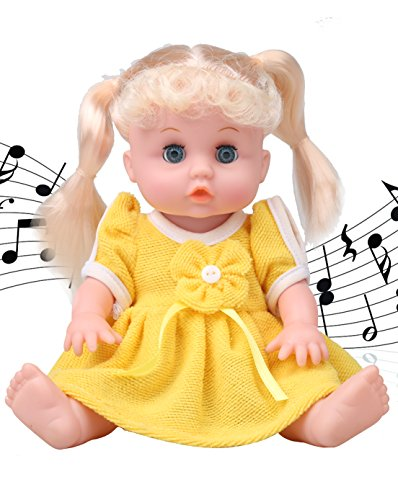 Musical Newborn Doll (10〞Alive Baby Girl Doll-Musical princess doll With Open/Close Eyes . The Best Gift (yellow clothes) ))