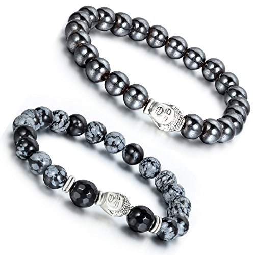 (Aroncent 2 PCS Lodestone Snow Agate Beads Buddhist Bracelet Mala Religious Prayer with Buddha Head)