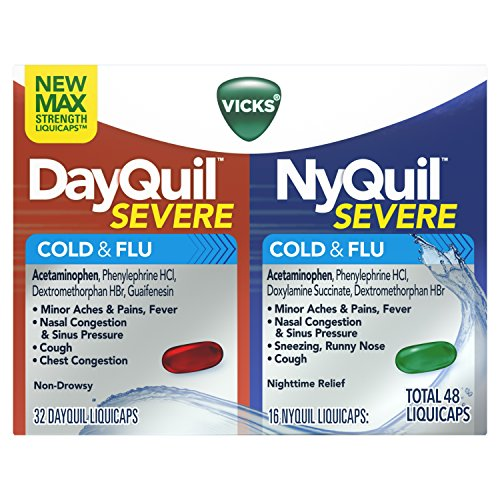 Vicks DayQuil and NyQuil Severe Cough, Cold & Flu Relief, 48 LiquiCaps (32 DayQuil & 16 NyQuil) - Relieves Sore Throat, Fever, and Congestion, Day or ()