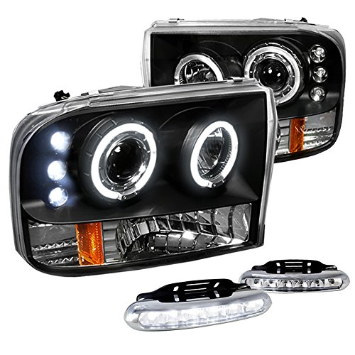 F250 F350 F450 F550 Black Halo Projector Headlights w/LED Bumper Fog Lamp