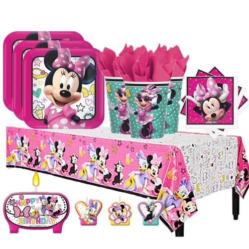 Another Dream Disney Minnie Mouse Happy Helpers Birthday Party Pack for 16 with Plates, Napkins, Cups, Tablecover, and Candles ()