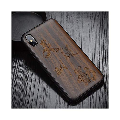 for iPhone Xs Max Case Black Ebony Wood Cover for iPhone Xs Carved TPU Bumper Wooden Case for iPhone X Xr,As Picture8,for iPhone ()
