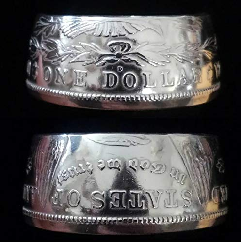 (Genuine 1921 Morgan .900 Silver Dollar Handcrafted Coin Ring (Sizes 9 to 16))