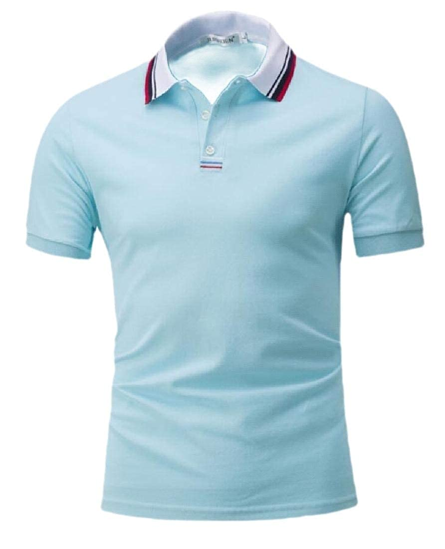 ouxiuli Mens Striped Collar Slim Fit Short Sleeve Polo Shirts Tops Blouses