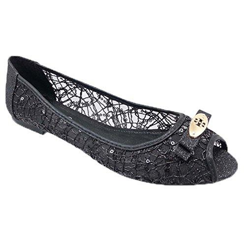 Adrianna Peep Toe Flats Zwart Glitter Vrouwen