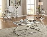 Poundex Velia 3-Pc Silver Tempered Glass Metal Base Table Set Review