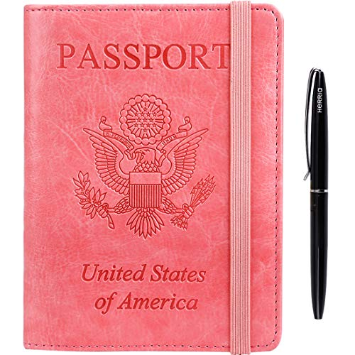 RFID Blocking Leather Travel Document Organizer Passport Holder Cover Wallet Case for Id Card Credit Card Business Card for Men Women with Bonus Ballpoint Pen Pink