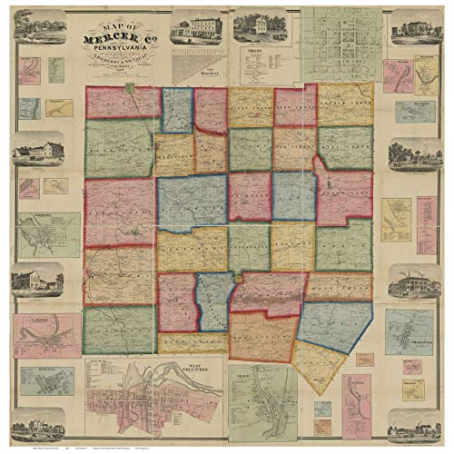 (Mercer County Pennsylvania 1860 - Wall Map with Homeowner Names - Old Map Reprint )