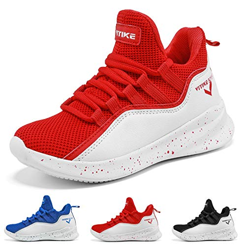 Running 750 Shoes (Boys Basketball Shoes Comfortable Kids Basketball Sneakers Youth Mid-top Slip-on Girls Running Shoes Lightweight Big Little Kids Shoes Size 13 Red)