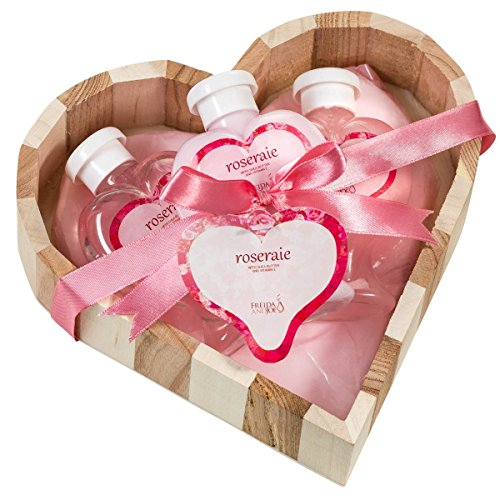 Pink Rose Bath and Body Gift Basket,shower gel ,bubble bath,body lotion displayed wood heart love basket!