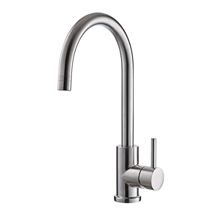 Etonnant Trywell T304 Solid Stainless Steel Kitchen Sink Faucet, High Arc Single  Lever Bar Faucet With