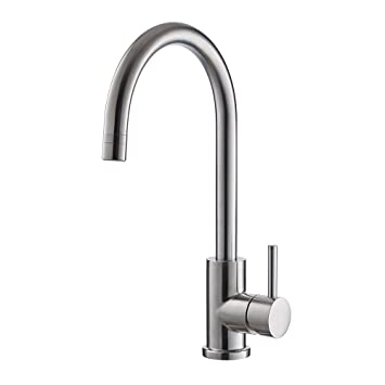 Trywell T304 Solid Stainless Steel Kitchen Sink Faucet High Arc