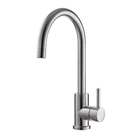 Trywell T304 Solid Stainless Steel Kitchen Sink Faucet, High Arc Single  Lever Bar Faucet With