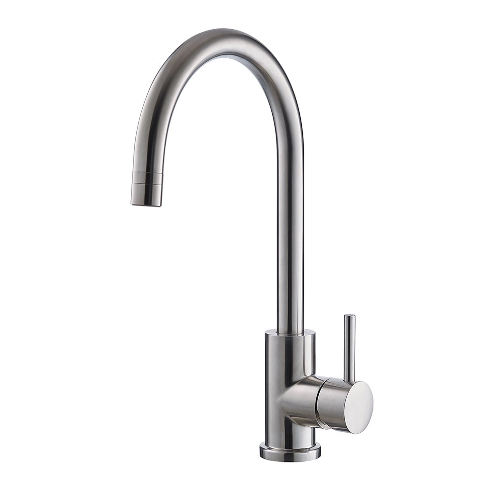 Trywell T304 Solid Stainless Steel Kitchen Sink Faucet, High Arc Single Lever Bar Faucet with Two-function Nozzle,1.8 Gpm by Trywell (Image #1)