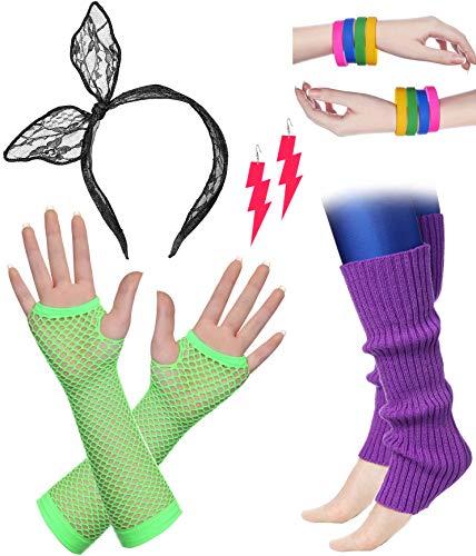 BABEYOND 80s Outfit Costume Accessories Neon Earrings Fishnet Gloves Leg Warmers Headband Bracelets (Set ()