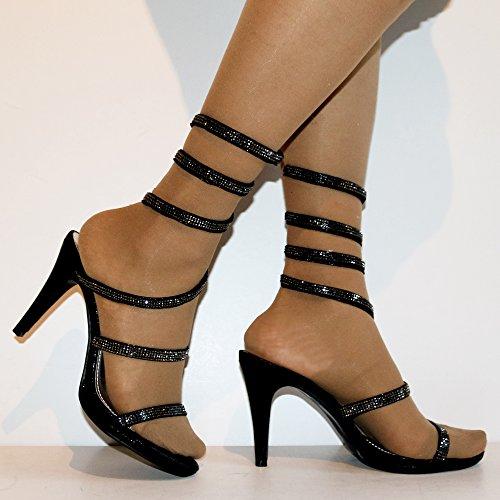 Chaussures Diamante Noir Roche Sandales Mi Taille 2 23 Glissement Styles De De Sur Femmes Des Fête Sur Les Du Talon Soirée Haut Fq1wazF