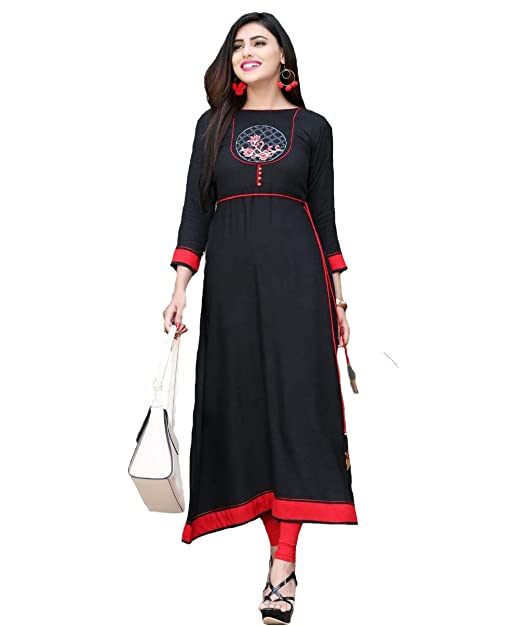 2338e51484a Mittoo Women s Latest Designer Thread Embroidery Long Length Beautiful  Rayon Flax Kurti - Black  Amazon.in  Clothing   Accessories
