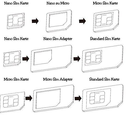 Sim Karten Adapter Maße.Nano Sim Und Micro Sim Karten Adapter Set Für Smartphone Handy Und Tablet 4 In 1 Komplett Set Mini Set Mit Klicksicherung 100 Passgenau Nano Zu