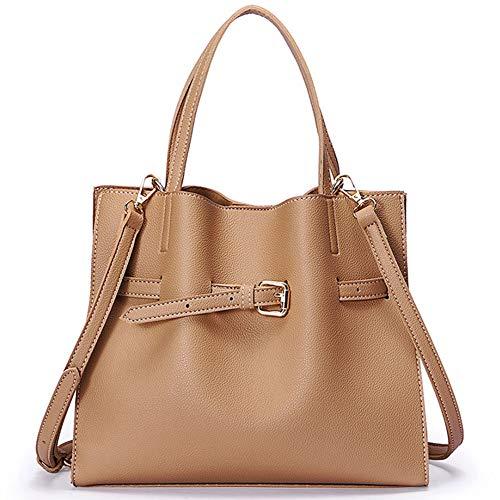 (Women's PU leather Tote Satchel Shoulder Handbag (Apricot))