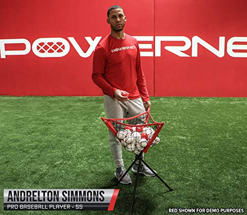 PowerNet Baseball Softball Portable Batting Practice Ball Caddy (Red) | Use During Training and Drills | Save Your Back No More Bending | Holds up to 60 Baseballs | Instant Setup | Team Colors
