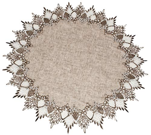 Linens, Art and Things Lace Doily 23 Inch Neutral Earth for sale  Delivered anywhere in USA
