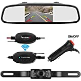 LeeKooLuu Wireless Backup Camera Mirror Monitor Kit Car/RV/MPV/Van 9V-24V Rear View Camera System IP68 Waterproof Reverse Camera Night Vision Guide Lines
