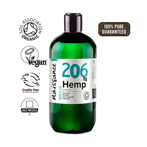 Naissance Organic Cold Pressed Virgin Hemp Seed Oil (no. 206) 2x250ml (500ml) – Certified Organic, Vegan, Unrefined. Rich in Omega 3, 6 and 9