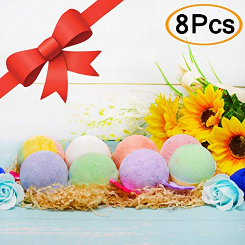 Set for Women 8-5oz XL Multi Colored Rich Bubble Skin Moisturizing Natural Organic Fizzies Bath Bombs Pearl Kit Birthday Gift Idea for Girlfriend Wife Vegan Bath Fizzers for Kids ()