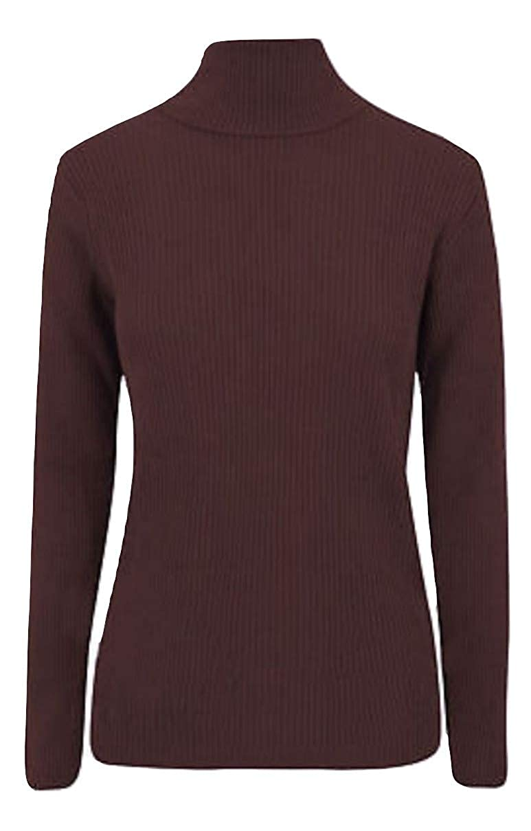 Momo/&Ayat Fashions Ladies Warm Knitted Skinny Rib Roll Neck Jumper US Size 4-22