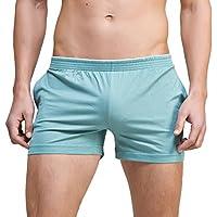 linemoon de los hombres sólido algodón sueño Bottoms Moda simple Active pantalones cortos