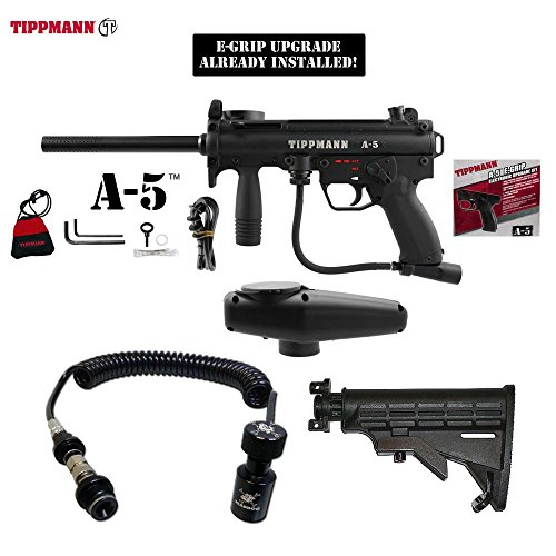 Tippmann A-5 w/ Selector Switch E-Grip Paintball Gun + Remote Coil w/ Slidecheck & Stock Combo Package - Black (Automatic Coil Selector)