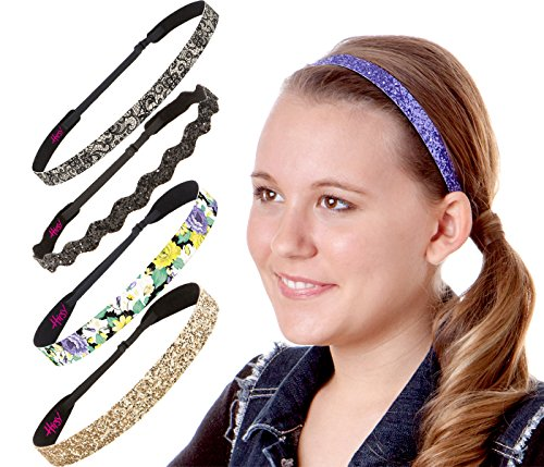 Hipsy 5pk Women's No Slip Headband Adjustable Purple Flower Vine