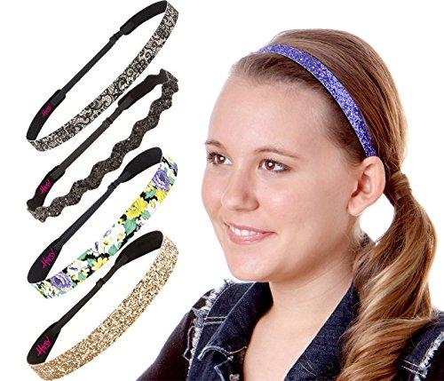 Hipsy 5pk Women's No Slip Headband Adjustable Purple Flower Vine
