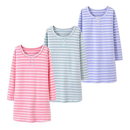 Allmeingeld Girls Stripes Nightgowns Bowknot Sleep Shirts Cotton Sleepwear for 3-12 Years