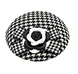 Ahugehome Fascinator Hair Clip Headband Pillbox Hat Vintage Camellia Houndstooth Flower Bow Derby Party (A Black White A)