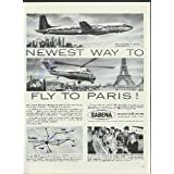 Newest way to fly to Paris Sabena DC-7C & Sikorsky S-58 ad 1957