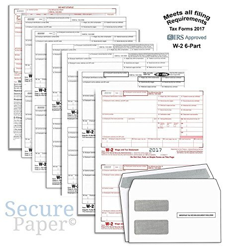 W2 Forms Order (Complete Laser W-2 Tax Forms And W-3 Transmittal - Kit For 50 Employees ~6-Part~ All W-2 Forms with 50 Self-Seal Envelopes in Value Pack | W-2 Forms 2017)
