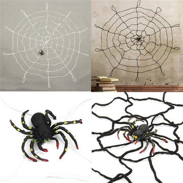 Decoration - Large Spider Web Decorations Black Giant Miniature Super Plush - 1PCs -